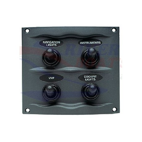 PANEL DE 4 INTERRUPTORES GRIS MARINCO